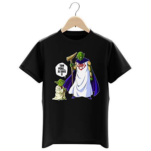 T-Shirt Enfant Garçon Noir Parodie Dragon Ball Z - Star Wars - Yoda et Dieu - Ton père. Je suis !! (T-Shirt Enfant de qualité Premium de Taille 11-12 Ans - imprimé en France)