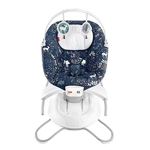 Fisher-Price Columpio-hamaca portátil con movimiento y sonidos, estampado bosque, regalo para bebés hasta 9kg (Mattel HBD64)