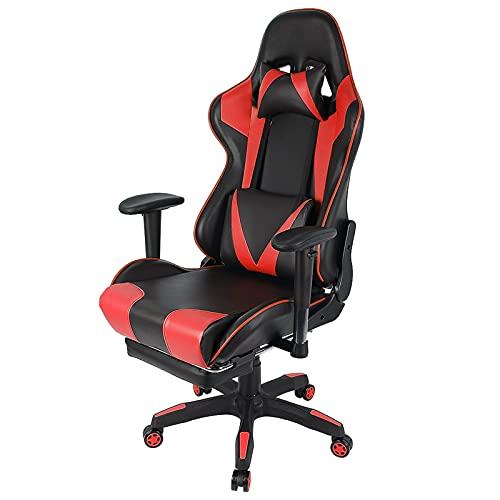 WEEA Silla ergonómica para videojuegos, silla de escritorio para ordenador y oficina, con pasamanos ajustable, silla giratoria con respaldo alto y soporte lumbar, reposacabezas y reposapiés