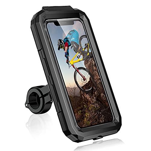 Faneam Universale Porta Cellulare Bici Supporto Smartphone Moto Impermeabile Scooter Porta Cellulare Moto Givi Anti-Shake 360°Regolabile Supporto Telefono Bicicletta per 4.7-6.8 Pollici Smartphone (L)