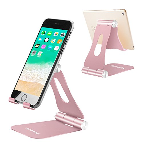 Adjustable Cell Phone Stand, Multi-Angle Tablet Stand Desk Cell Phone Holder with Anti-Slip Base and Convenient Charging Port Universal Aluminum Stand for All Smartphones and Tablets - Rose Gold