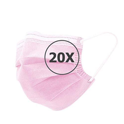 TBOC Maschera Igienica Monouso - [Pack 20 Unità] Mascherina [Rosa] in Polipropilene a 3 Strati Leggera e Morbida Traspirante con Clip per Naso Protezione Facciale Alta Filtrazione Non Riutilizzabile