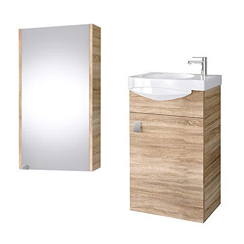 Planetmöbel Juego de muebles de baño para invitados, lavabo, armario de cerámica, armario con espejo, roble Sonoma
