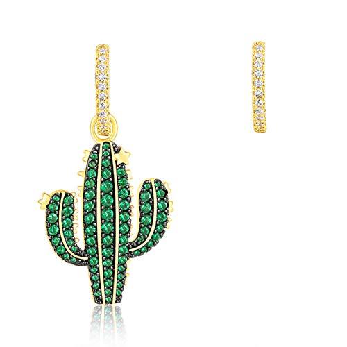 MAYL Pendientes asimétricos de Cactus New Niche Pendientes de Gama Alta Femenina Pendientes Verdes de Verano (2021 New)
