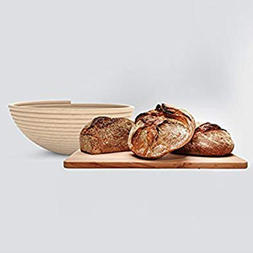 TOOGOO 1 X wood Proofing Basket bowl for Bread and Dough Best Round Professional Mode-Round Basket Can Help for Sourdough Breads(9 inch 22cm Diameter)