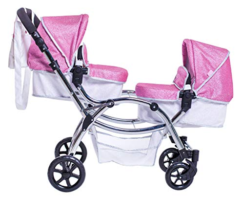 Roma Stephanie Twin Dolls Pram - Sparkle 3-16 years