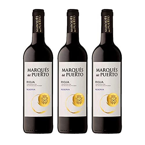 Vino Tinto Marques del Puerto Reserva de 75 cl - D.O. Rioja - Bardinet (Pack de 3 botellas)
