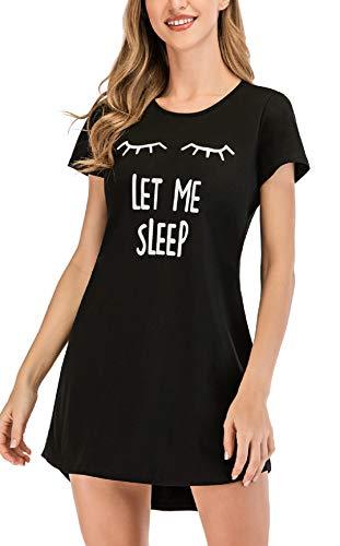 UMIPUBO Camisón para Mujer Manga Encaje Corta Ropa de Dormir Pijamas Vestir Camisónes Verano Pijama