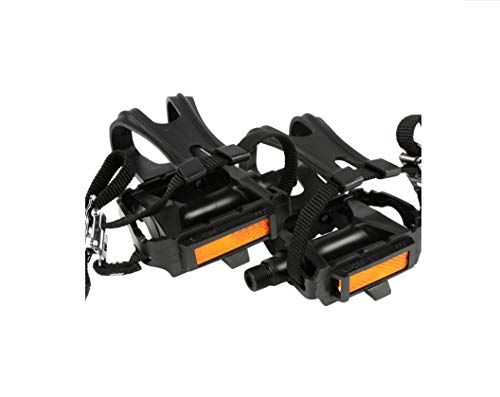 Bike Pedals with Clips and Straps for Outdoor Cycling and Indoor Stationary Bike 9/16-Inch Spindle Resin/Alloy Bicycle Multi-Purpose Pedals (A Pair)