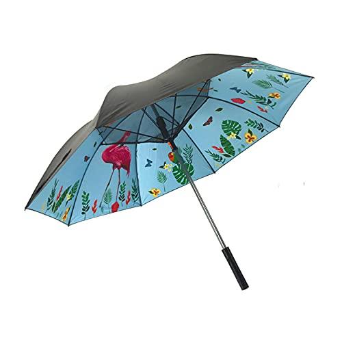 Gmjay Sombrilla Plegable Paraguas de Enfriamiento Ventilador Recargable Incorporado Protección UV Paraguas de Lluvia para Golf Playa Piscina al Aire Libre,Flamingo