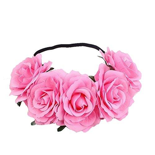 DreamLily Women's Hawaiian Stretch Flower Headband for Garland Party BC12 (Light Pink)