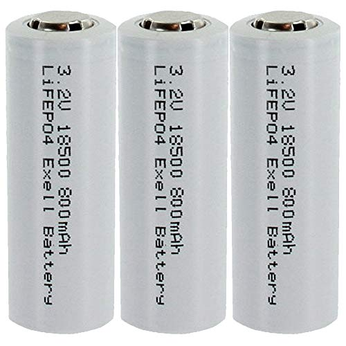 3-PACK 3.2V 800mAh Exell Battery Li-FePO4 Size 18500 Rechargeable Batteries Garden Lights, Solar Lamps, LED Flashlights, Security Keypads