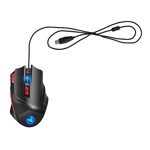 MagiDeal Ratón para Juegos con Cable, 6000 dpi, Ratón óptico USB para Juegos Programable de Precisión para PC/Computadora Portátil/Sistema de Windows