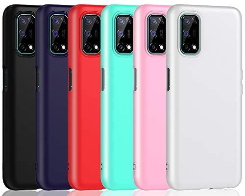ivoler 6 Stücke Hülle für Oppo Realme 7 5G, Ultra Dünn Tasche Schutzhülle Weiche TPU Silikon Gel Handyhülle Hülle Cover (Schwarz, Blau, Rot, Grün, Rosa, Weiß)