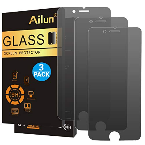 Ailun Privacy Screen Protector Compatible with iPhone 8 7 Anti Spy 3 Pack 2.5D Edge Tempered Glass Anti Scratch Case Friendly