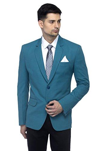 FAVOROSKI Designer Men's Slim Fit Notched Lapel Single Breasted Solid Blazer, Turkish Green
