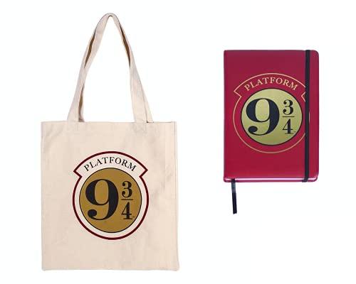 Harry Potter Notizbuch und Tasche 100% Baumwolle, Blankobücher Blocke Gebundene Ausgabe, Wiederverwendbare Öko-Tasche, Harry Potter Geschenk Set