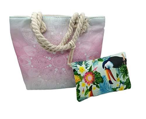 Goodforgoods Bolso pequeño para la playa y piscina 28x23cm, con diseño de mandala, para mujeres, señoras, chicas y niñas. (28x23, Rosa)