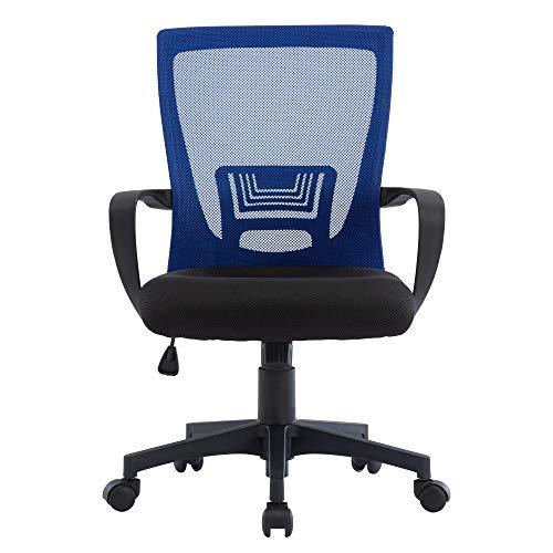 STmeng - Sedia da ufficio ergonomica, in tessuto a rete, con schienale intermedio, con braccioli e supporto lombare