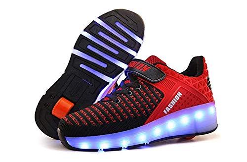Jungen und Mädchen Schuhe USB wiederaufladbare Rollschuhe einrad Automatische Leuchtschuhe Bunte LED-Lichtschuhe mehrfarbige Größe,E,33