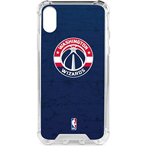Skinit Clear Phone Case for iPhone X/XS - Officially Licensed NBA Washington Wizards Blue Distressed Design