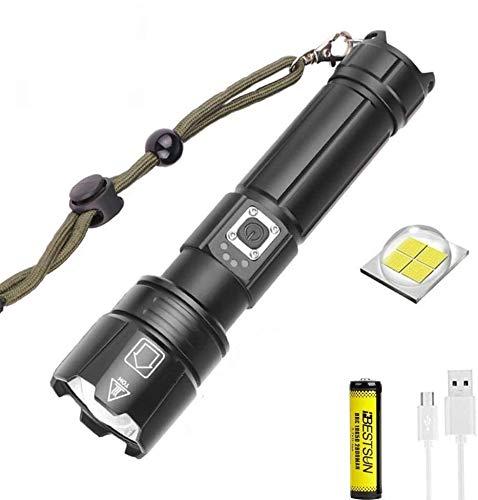 8000 lúmenes XHP70.2 linterna LED súper brillante linterna táctica recargable USB linterna de mano linterna de mano con zoom 5 modos antorcha impermeable con indicador de alimentación para camping