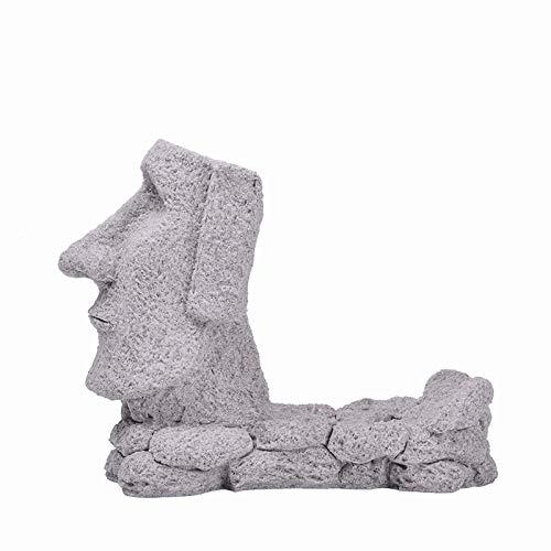 AIJOAN-BJ Estatuillas Decoracion Estatua De La Escultura Escultura Arenisca Isla De Pascua Moai Wine Rack