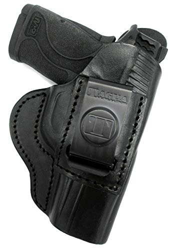 HOLSTERMART USA by TAGUA S&W M&P Shield 380 EZ and 9 EZ Black Leather Right Hand Inside Pants IWB AIWB Concealment Holster with Comfort Tab