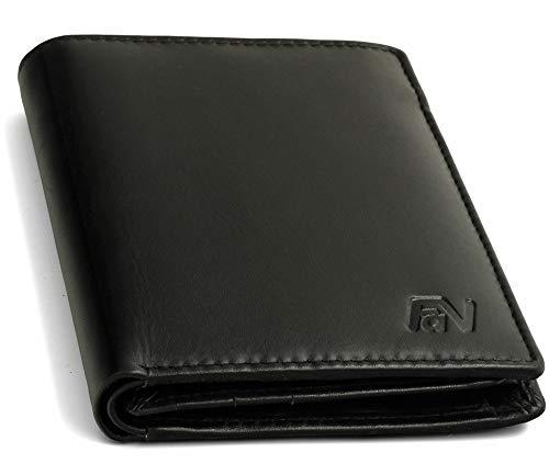 Fa.Volmer ® Geräumige Schwarze Herren-Ledergeldbörse aus echtem Leder mit RFID-Schutz in Hochformat #VO18