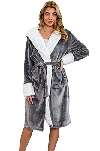 UMIPUBO Albornoz para mujer largo de franela, pijama kimono, vestido, bata, albornoz, ropa de salón, cinturón a juego, 2 bolsillos gris Talla única