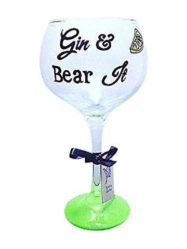 Gin et Tonic Copa en verre, Vert, avec citation de Gin et de citron décoré Ballon 765,4 gram Gin et ours Il fantaisie Gin Cadeau, Gin Verrerie