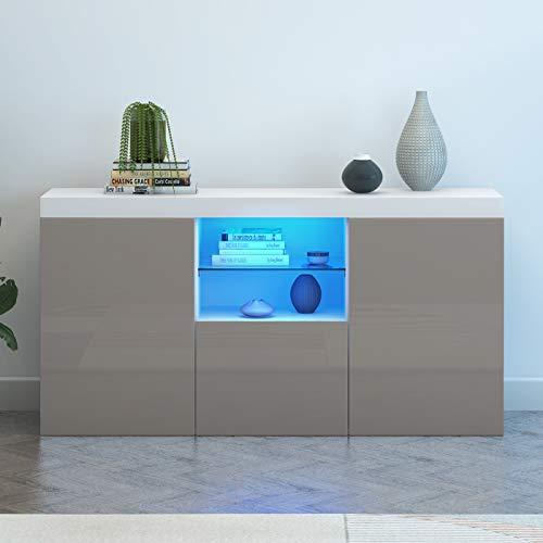 Panana Modern Hight Gloss Front LivingroomCabinet with 3 Door, RBG LED CupboardSideboardDisplay Storage TV Unit Stand (Grey)