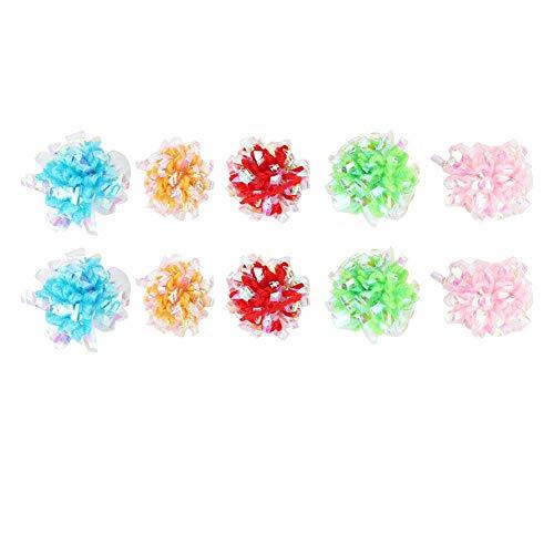Bolas de arrugas para gatos, 10 piezas de juguete brillante y antiestrés, colorido, brillante, de papel crepitante para mascotas, bola de papel arrugado con sonido, ejercitador interactivo adecuado pa