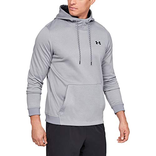 Under Armour Men's Armour Fleece Pullover Hoodie, Steel Light Heather (035)/Black, Large
