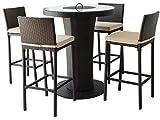 CKM Bar-Tisch-Set — Minibar im Rattan-Look für den Garten