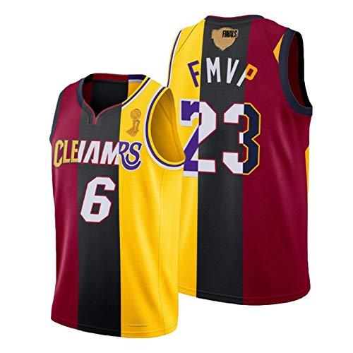 GCZ James-Jersey, Lakers 23# Basketball-Jersey Miami 6# und Cavaliers Basketball-Trikots mit Meisterschaftslogo Special Gedenktrikot (S-XXL) XL