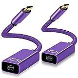 Adaptador USB C a Mini DisplayPort (2 Pack), Convertidor 4K 60Hz USBC Macho a mini DP Hembra (compatible con Thunderbolt 3) para MacBook 2018 2020, Mac Air iPad, Microsoft Surface Book Pro 7,XPS 15/13