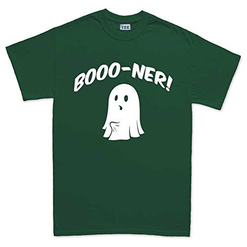MensBonerGhostHalloweenScaryFunnyT Shirt(Tee)FGR M Forest Green