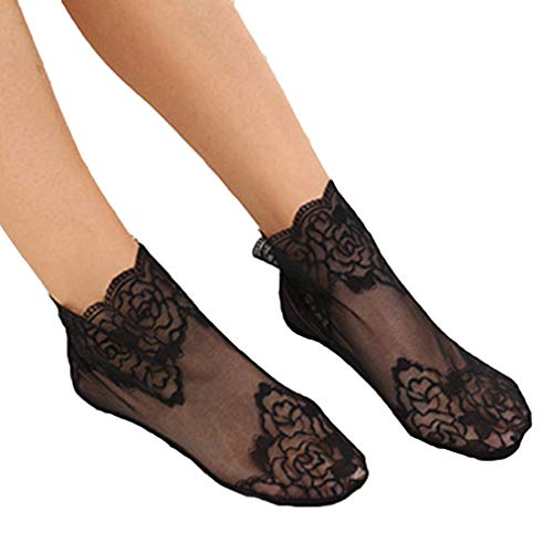 Yinew 3 Paar Lace Flower Ankle Socks elastische transparente atmungsaktive Sommersocken für Frauen, schwarz
