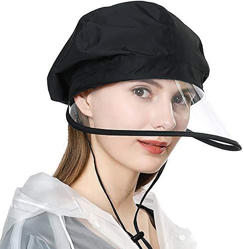 PANZZ Walking Biking Wide Brim Rain Cap Bonnet w/Visor Chin Strap Elastic Fit Remove Protective Film on Both Sides of Visor,99073_Black,M