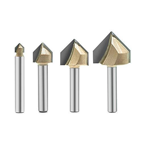 4 x V-Nut-Frässtifte, 90 Grad, titanbeschichtet, mit Hartmetall-Spitzen, 2-Nuten-CNC-Gravur-Bit, Holzbearbeitung, Fasen-/Schrägschliff, Schaft 6,35 mm