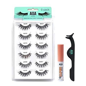 AOA Studio 6 Pairs Alexis Natural Handmade False Eyelashes with Glue and Tweezer Lash Kit Natural Volume Reusable Fake Eyelashes 100 Percent Handmade Cruelty Free