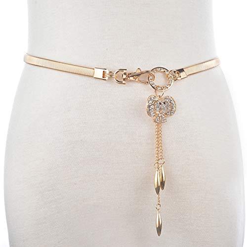 Zhenz Cinghia a Catena Elastica delle Donne della Vita di Fox Cintura d'oro dei monili di Cristallo Elegante della Ragazza del Tutto-fiammifero per Il Vestito dalla Donna,Golden Elephant,62cm