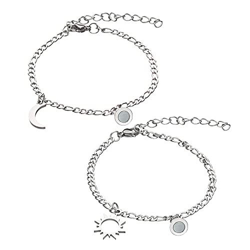 2 unids/set de regalo de moda para pareja de regalos de San Valentín joyería pareja pulseras atracción imán pulseras luna y sol