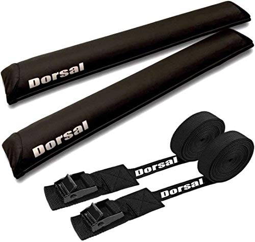 DORSAL Sunguard (No Fade) Aero Roof Rack Pads 28 Inch Wide 15 ft Long Straps Surfboard Kayak Sup