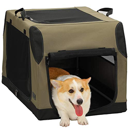 Petsfit Portable Collapsible Soft Medium Dog Crate and Kennel with Leak Proof Bottom for Indoor or Travel Use, Green 30 x 20 x 19 Inches
