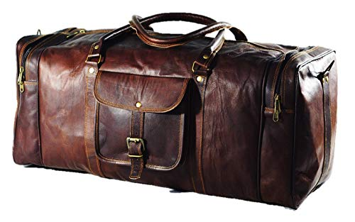 Urban Dezire 24 Inch Vintage Leather Duffel Travel Gym Sports Overnight Weekend Bag
