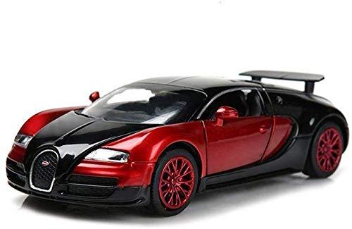 Fundición A Presión De Aleación De Luz Y Sonido Tire hacia Atrás del Coche De Juguete Modelo De 13.6X6x4cm Modelo De Coche Modelo del Coche Bugatti Veyron 01:32 Analógico,Rojo