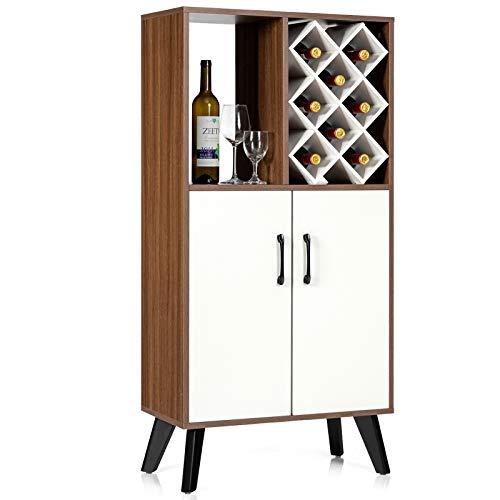 Giantex Buffet Sideboard, Free Standing Wine Cabinet, 8 Bottles Wood Wine Rack, Storage Credenza, 2 Door Pantry Cabinet, Kitchen Dining Room Cupboard, Living Room Open Storage Shelf (White & Walnut)