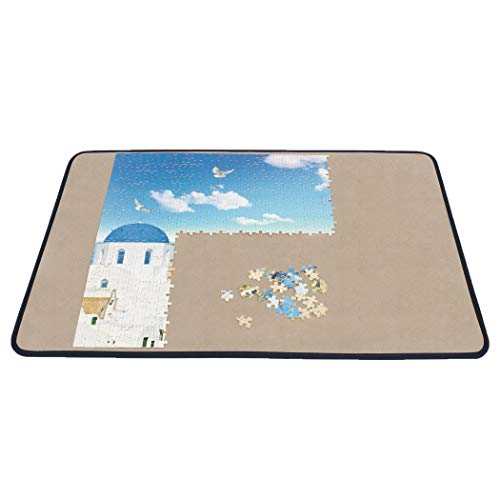 Becko Jigsaw Puzzle Board Portable Puzzle Mat for Puzzle Storage Puzzle Saver, Non-Slip Surface, Up to 1000 Pieces (Blue/Khaki)